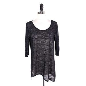 CLARA SUN WOO Sheer Lace Hem Tunic Top